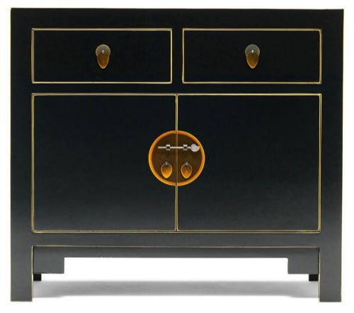 Black and Gilt Small Sideboard